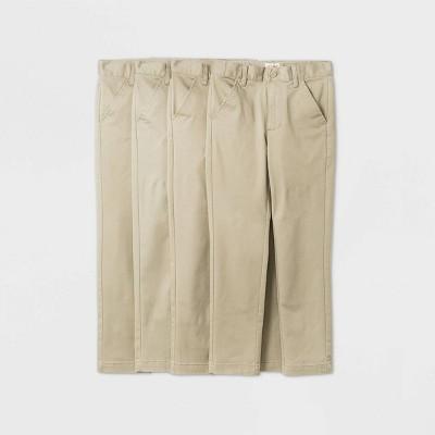 Boys' 4pk Flat Front Stretch Uniform Chino Pants - Cat & Jack™ Khaki