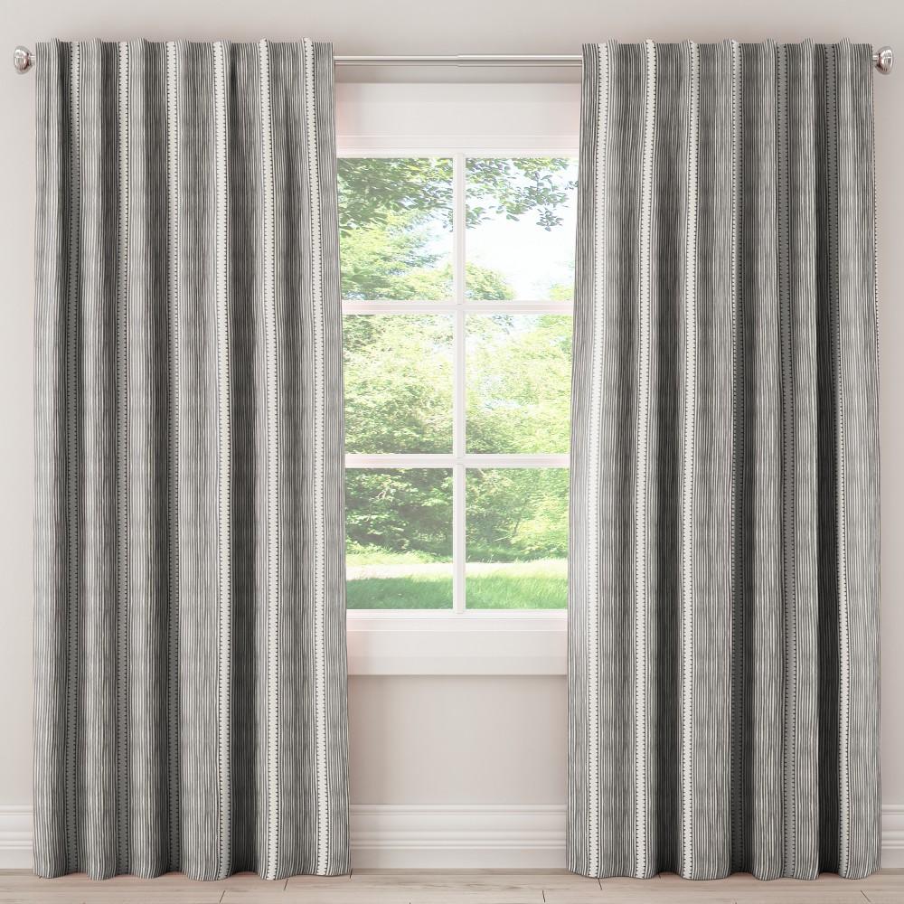 Blackout Curtain Bennett Stripe Charcoal 108L - Skyline Furniture, Gray