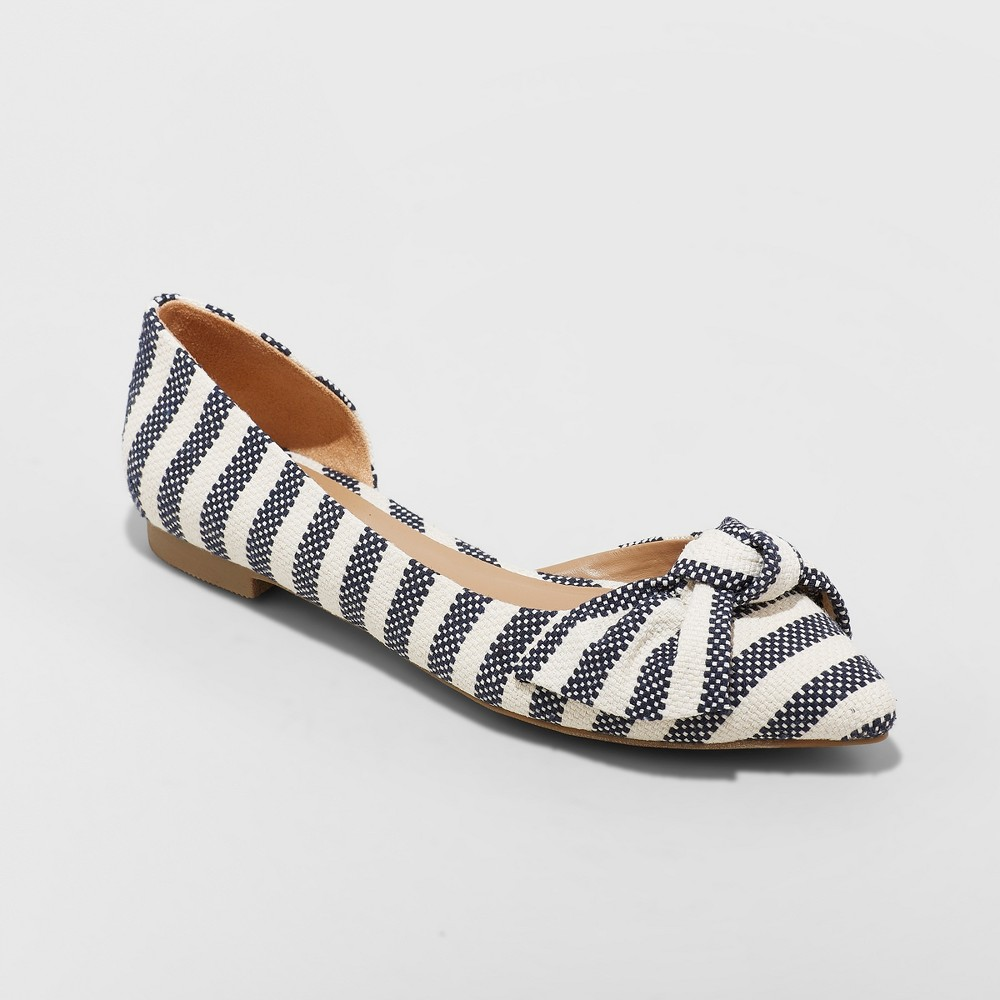 Women's Jayme Stripe Bow Ballet Flats - A New Day Cream (Ivory) 12