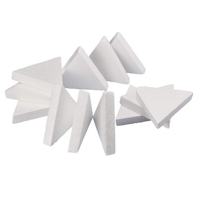 12 Pack Triangle Polystyrene Foam, Painting Activity for Kids, DIY Toy Puzzle, Arts & Crafts Supplies for School Project, 6 inches