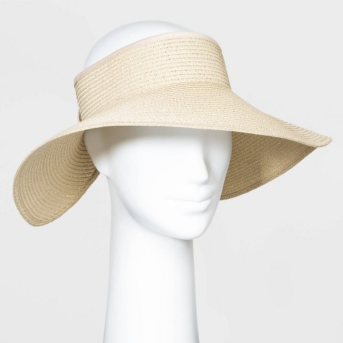 Women's Roll Up Visor Hats - A New Day™ Natural One Size - image 1 of 3