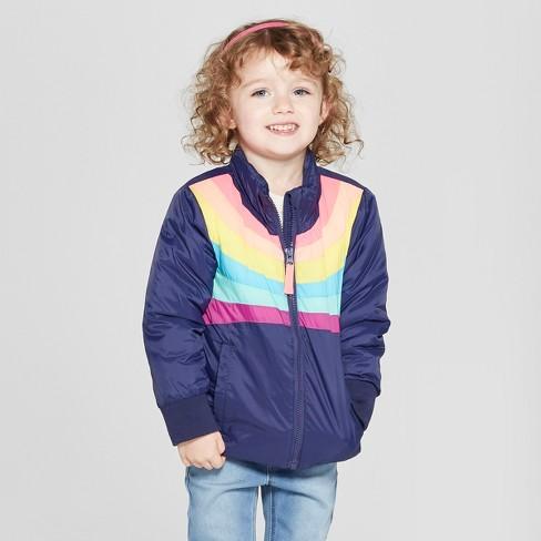 aba5bb360d59 Toddler Girls  Rainbow Midweight Puffer Jacket - Cat   Jack™ Navy ...