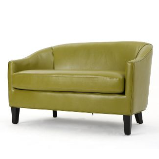 Justine Faux Leather Loveseat Green - Christopher Knight Home