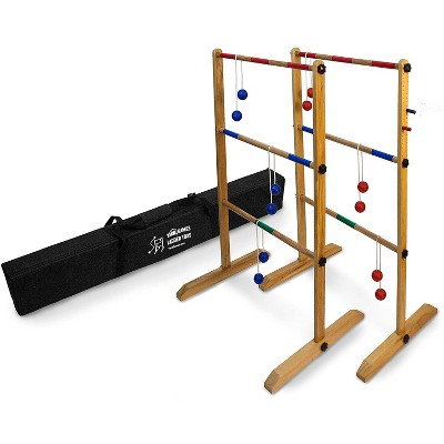YardGames Backyard Outdoor Durable Wooden Double Ladder Toss Game Set with Reinforce Nylon Carrying Case Bag, Red/Blue