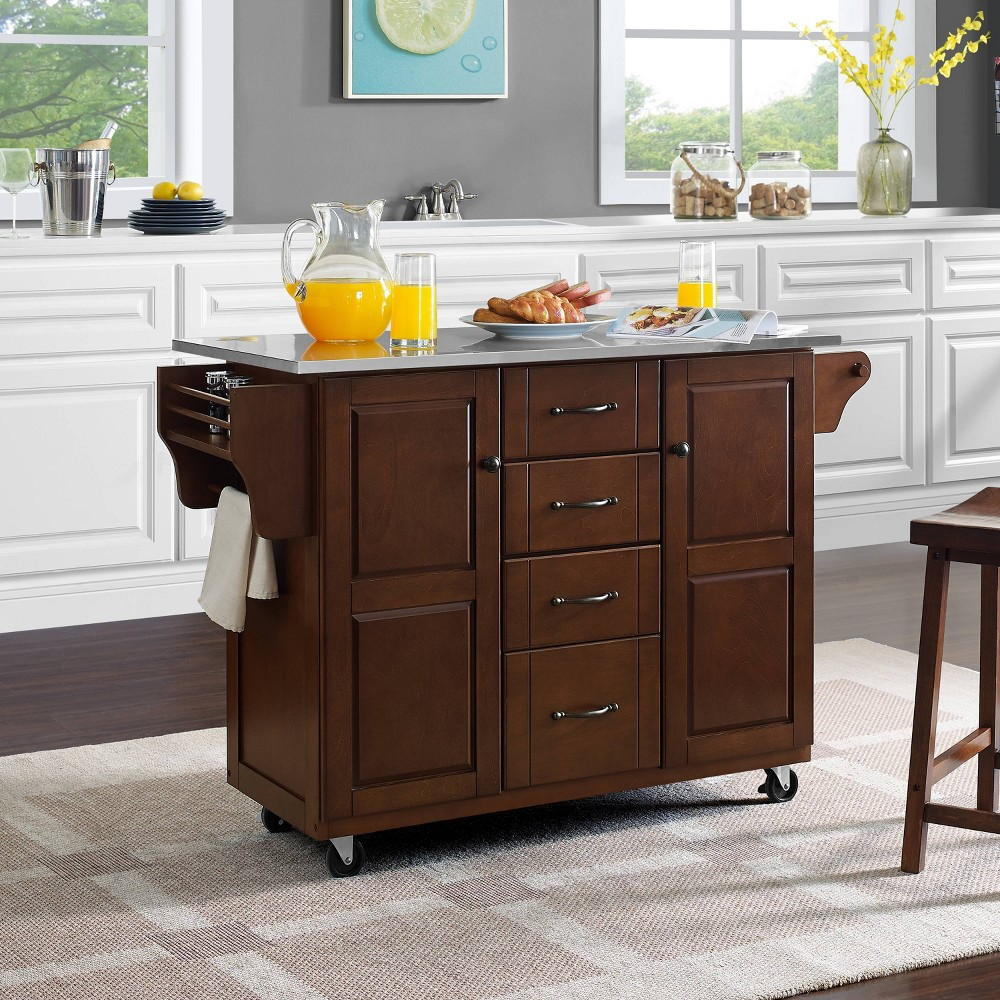 Eleanor Kitchen Cart with Stainless Steel Top Silver - Crosley
