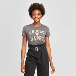Women's Disney Choose Happy Short Sleeve Graphic T-Shirt (Juniors') - Charcoal Heather