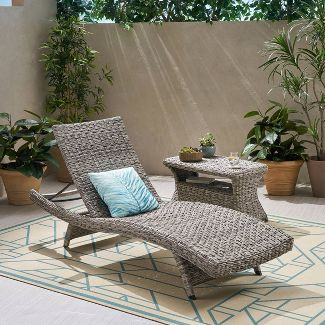 Crete Wicker Armless Chaise Lounge with Wicker Rectangular Side Table 2pc Set - Gray - Christopher Knight Home