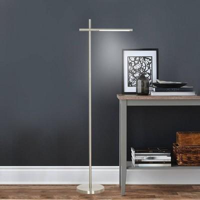 LED Floor Lamp Silver (Includes Energy Efficient Light Bulb)- Cresswell Lighting