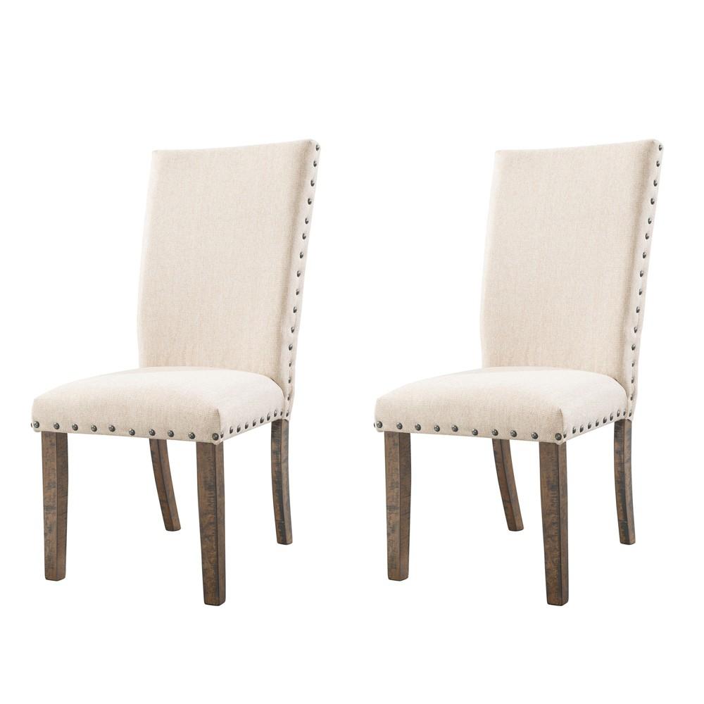 Dex Upholster Side Chair Set Cream/Smokey Walnut Brown - Picket House Furnishings