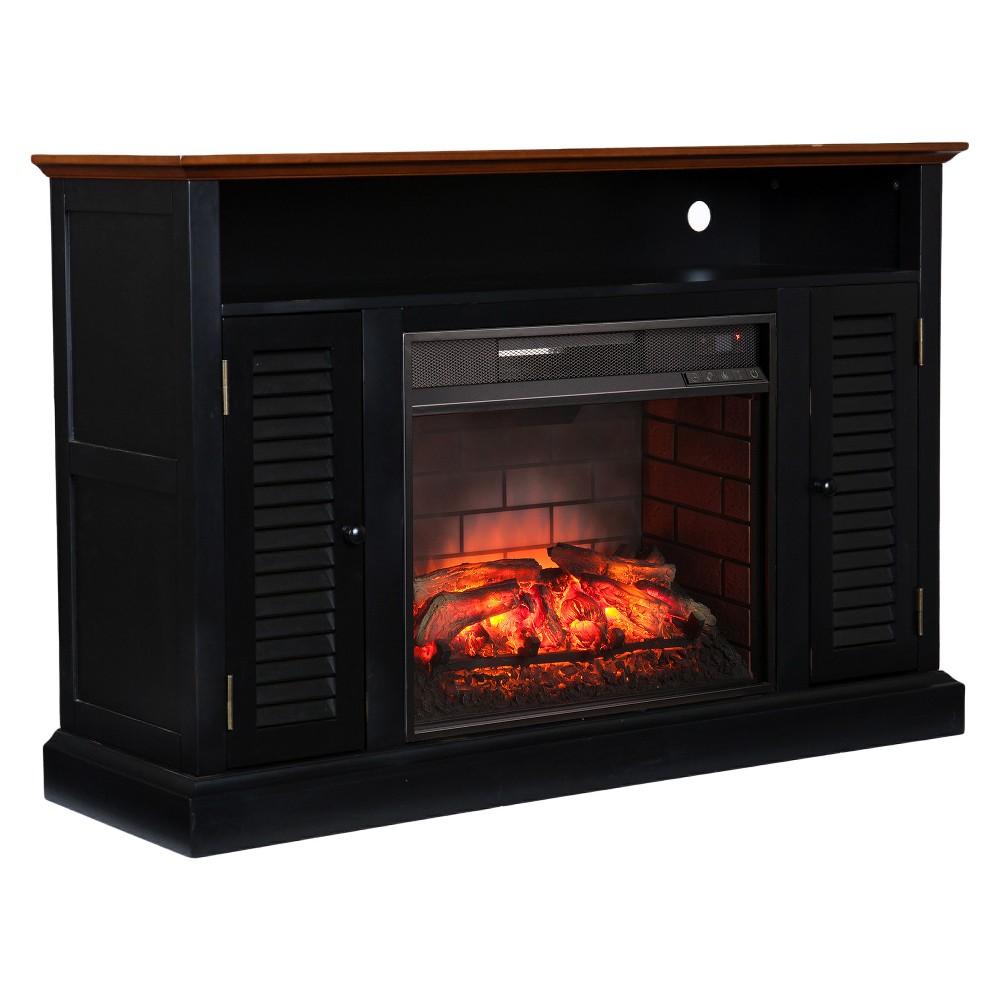 Aubrey Infrared Electric Media Fireplace - Black With Warm Walnut - Aiden Lane