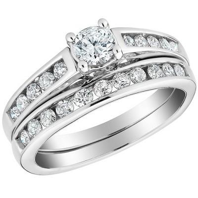 Pompeii3 1/2 Ct Diamond Engagement Wedding Ring Set 10k White Gold