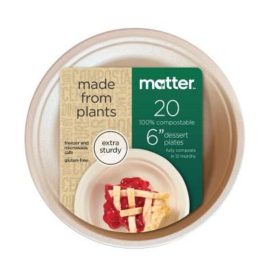 """Matter 100% Compostable Fiber Dessert Plates - 6"""" - 20ct"""