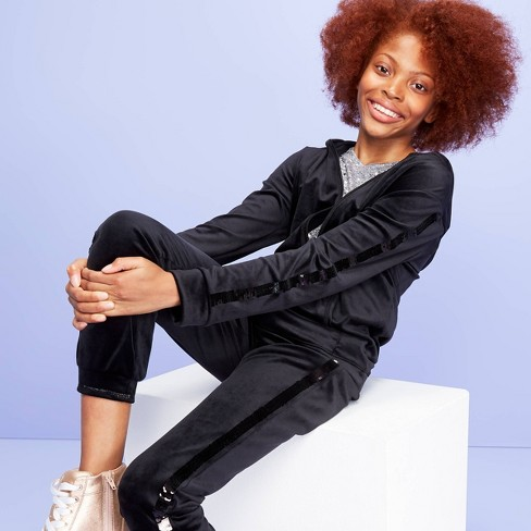 Girls' Velour Flip Sequin Stripe Zip-Up Hoodie - More than Magic™ Black - image 1 of 4