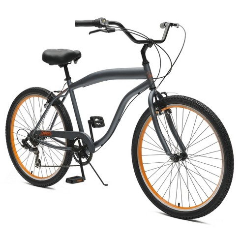 "Critical Cycles Mens Chatham 7-speed Cruiser Bike- 26"" - Graphite & Orange - image 1 of 2"