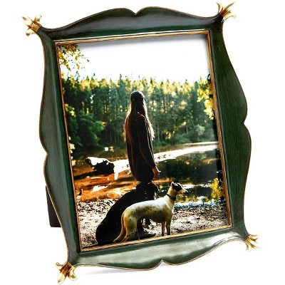Okuna Outpost Metal Picture Frame for 8x10 inch Photo for Vintage Home Decor, Green, 10.2 x 12.2 in.
