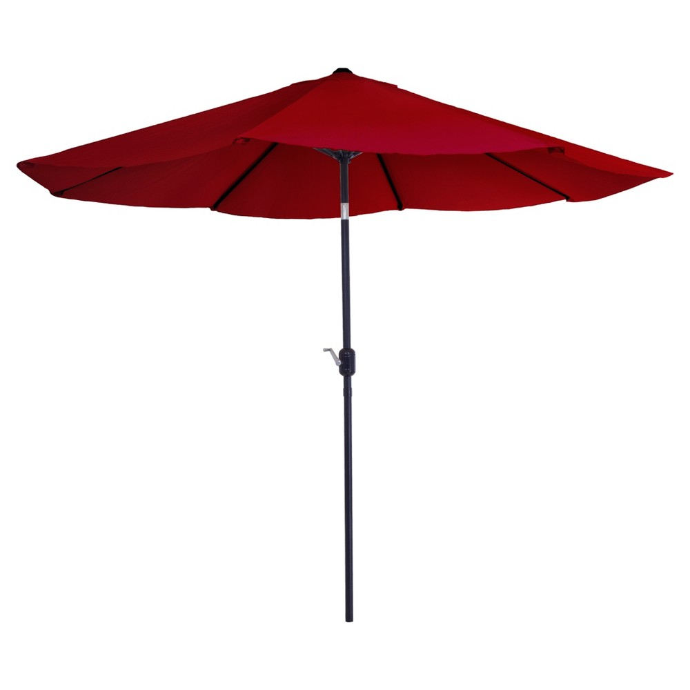 Image of 10' Aluminum Patio Umbrella with Auto Tilt - Red - Pure Garden
