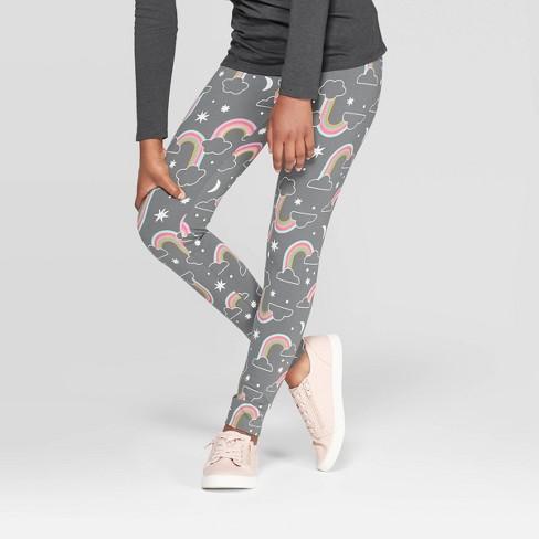 Girls' Rainbow Leggings - Cat & Jack™ Charcoal - image 1 of 3