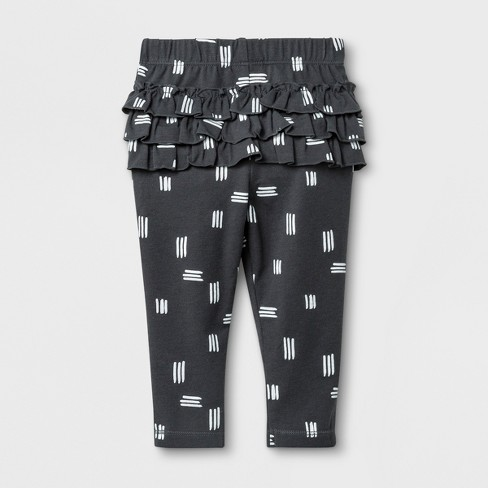 323233154c8ae Baby Girls' Leggings With Shapes Print And Bottom Ruffles - Cat & Jack™  Black/White 3-6M : Target