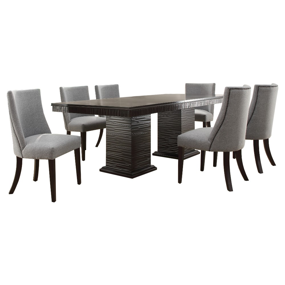 7 Piece Gordon Extendable Dining Set Wood/Brown - Homelegance