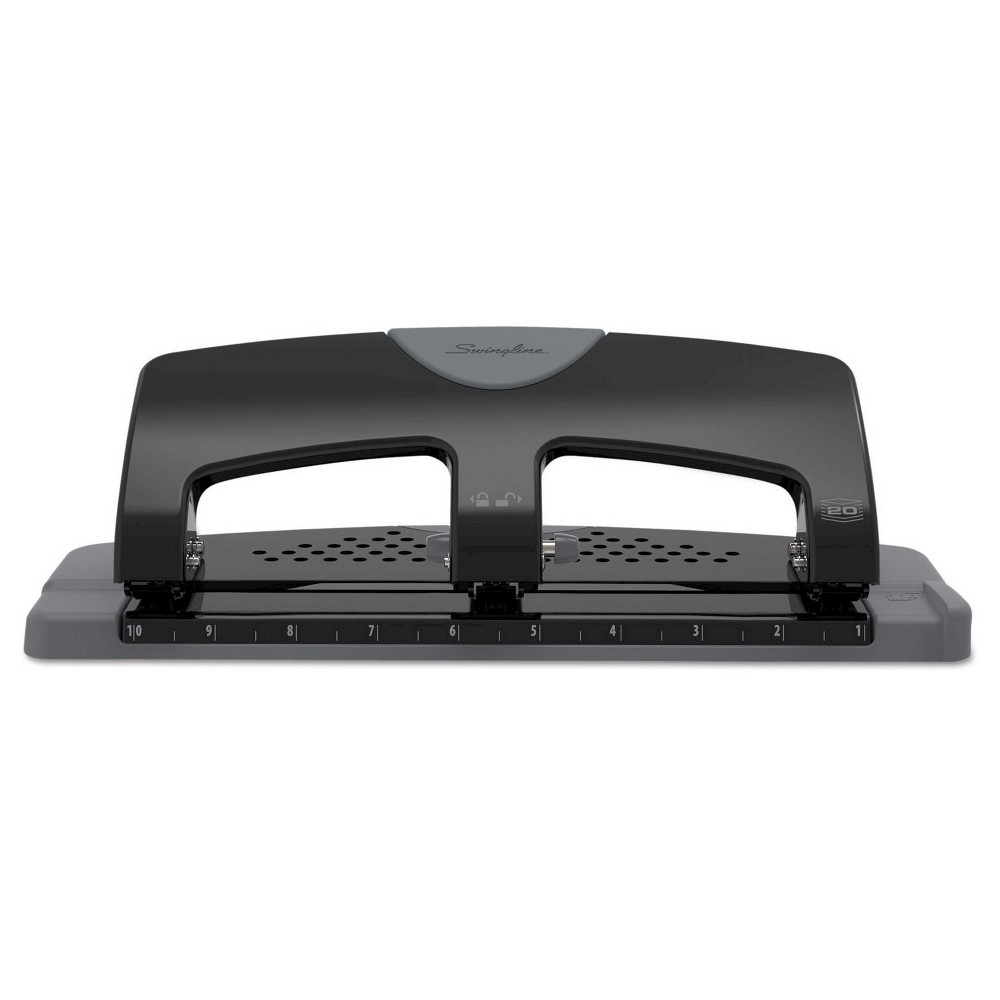 """Image of """"Swingline 9/32"""""""" Holes 20 Sheet SmartTouch Three-Hole Punch - Black/Gray"""""""