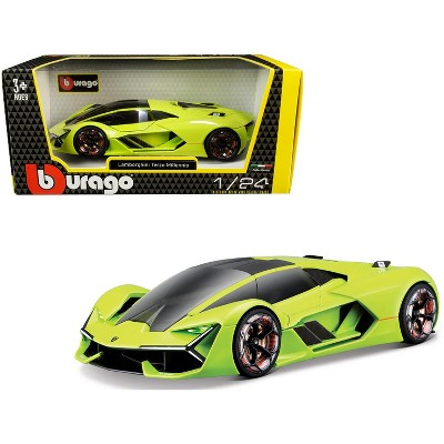 Lamborghini Terzo Millennio Lime Green with Black Top and Carbon Accents 1/24 Diecast Model Car by Bburago