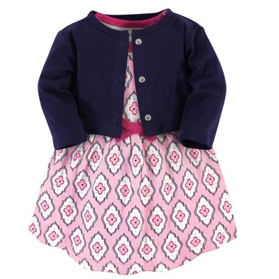Touched by Nature Baby and Toddler Girl Organic Cotton Dress and Cardigan 2pc Set, Trellis