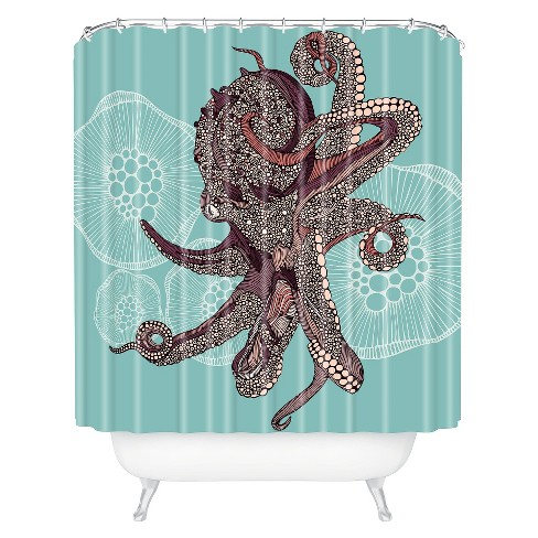 Octopus Bloom Shower Curtain Teal