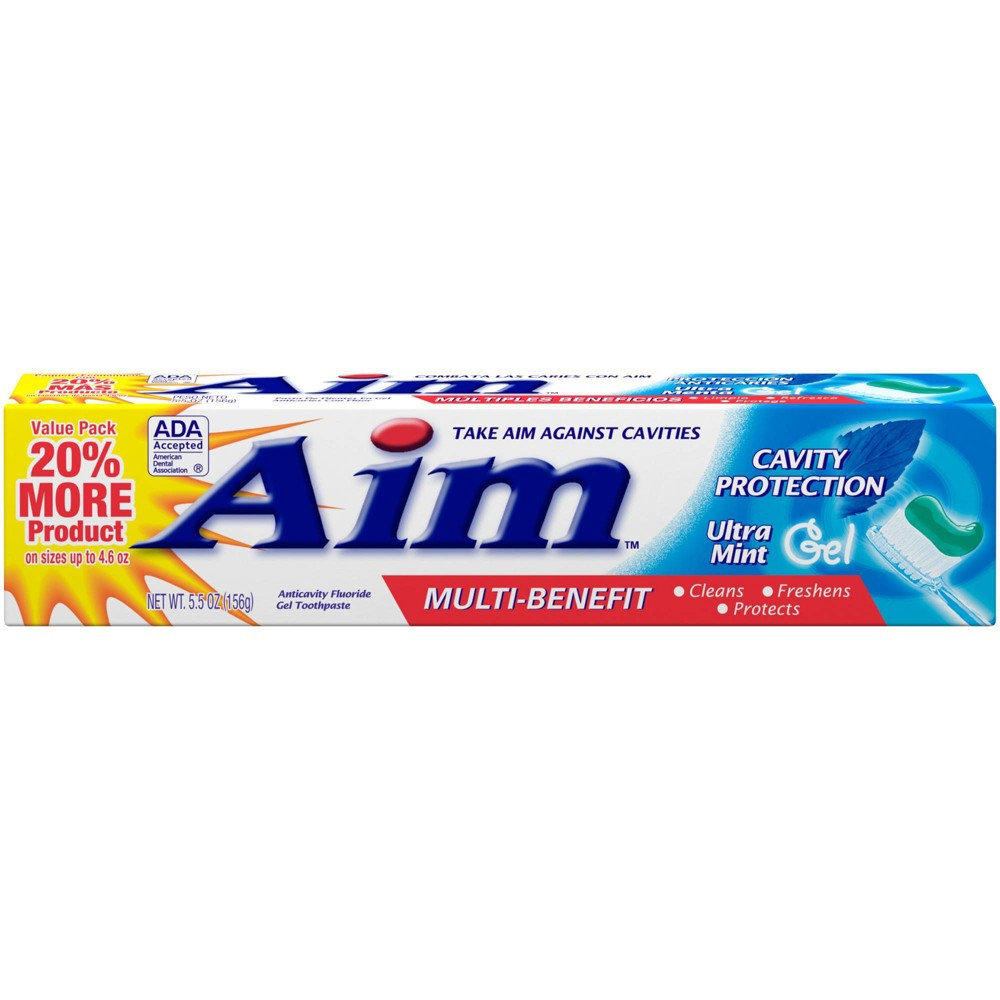 Image of Aim Cavity Protection Ultra Mint Gel Toothpaste 5oz