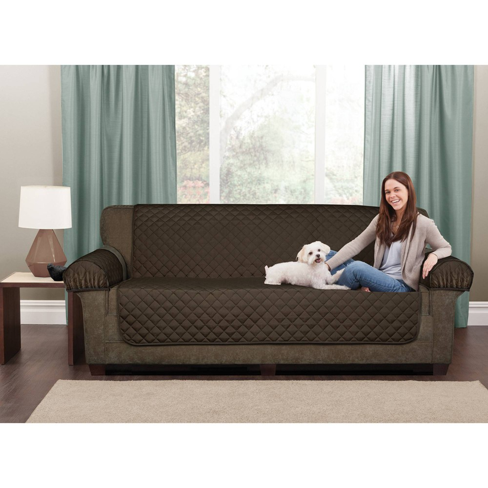 Image of Chocolate 3pc Waterproof Loveseat Pet Throw - Maytex
