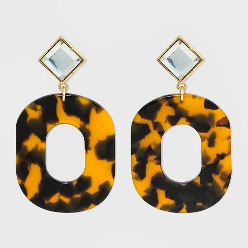 Clear Acrylic and Tortoiseshell Oval Hoop Earrings - A New Day™ Tortoise - image 1 of 2