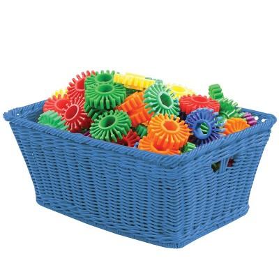 Kaplan Early Learning Small Plastic Wicker Baskets - Blue - Set of 10