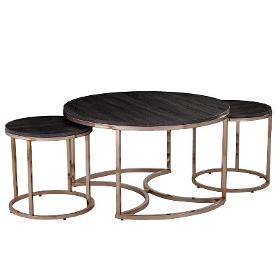 3pc Linder Round Nesting Coffee Tables Champagne - Aiden Lane