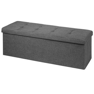 Costway Fabric Folding Storage Ottoman Storage Chest W/Divider Bed End Bench Light Grey\Drak Grey\Navy