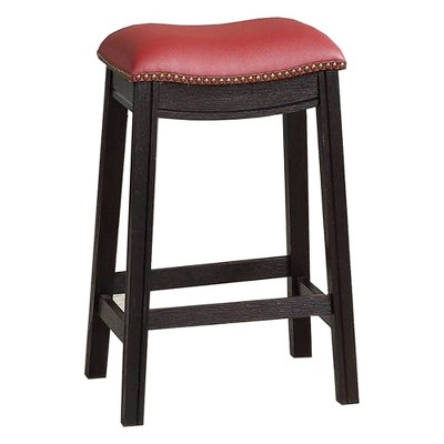 "24"" Wooden Counter Height Barstool with Upholstered Cushion Seat Black/Red - Benzara"