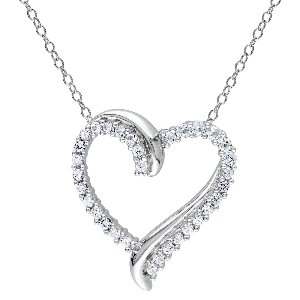 Image of 3/4 CT. T.W. Created Sapphire Shared Prong Heart Pendant Necklace in Sterling Silver - White, Women's