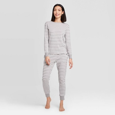 Women's Striped 100% Cotton Matching Pajama Set - Gray