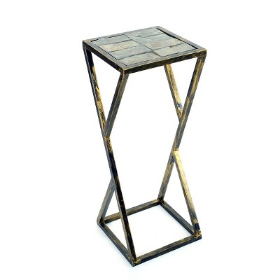 Metal Rectangular Plant Stand with Gray Stone Slab - Black/Gold - Ore International