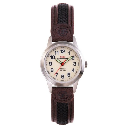 58314eed8 Women's Timex Expedition® Field Watch with Nylon/Leather Strap -  Silver/Brown T41181JT