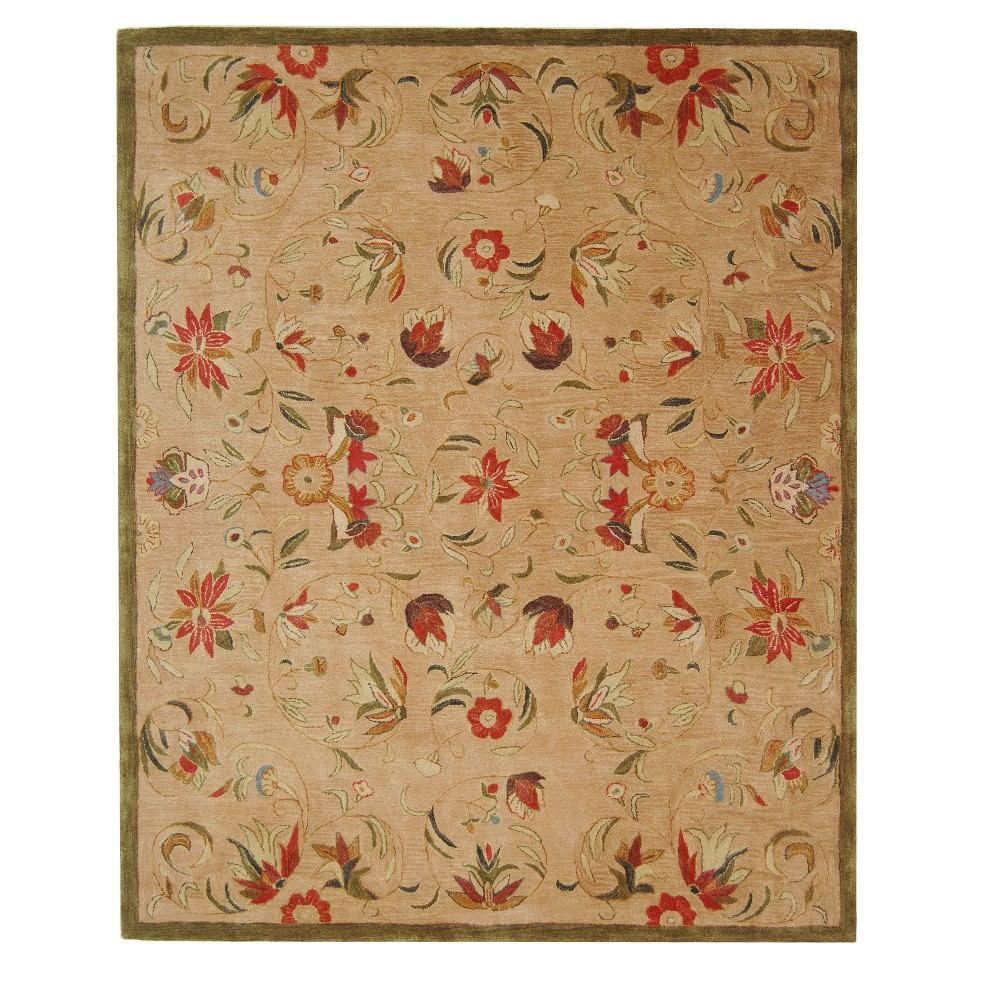 Green Floral Tufted Area Rug 8'X10' - Safavieh, Beige Green