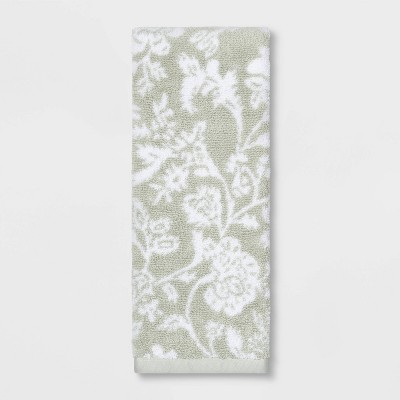 Performance Texture Hand Towel Light Sage Green Floral - Threshold™
