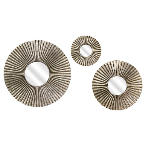 Round Mirror Set of 3 Silver - Aurora Lighting - image 1 of 1