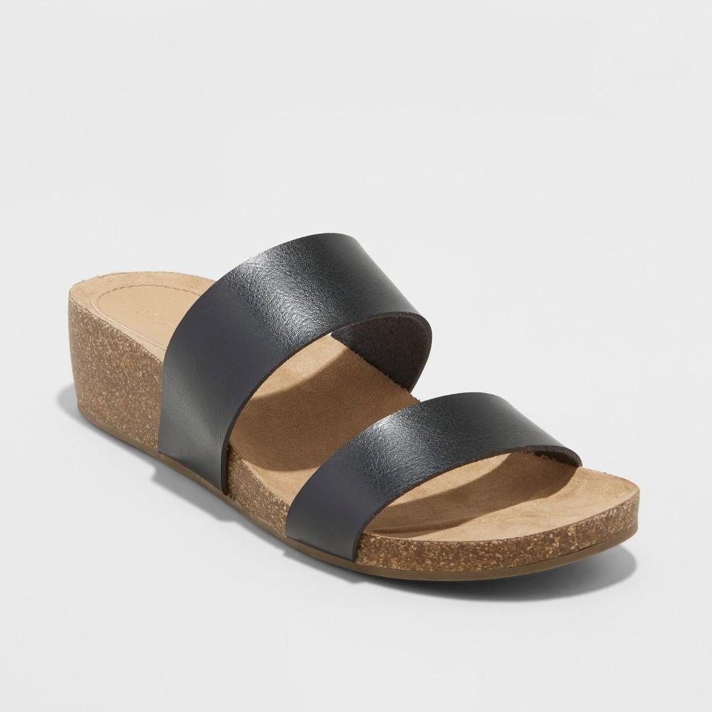 Women's Kerryl Wide Width Wedge Footbed Slide Sandals - Universal Thread Black 11W, Size: 11 Wide