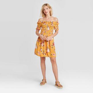 Women's Floral Print Short Sleeve Smocked Top Dress - Xhilaration™ Mustard XS