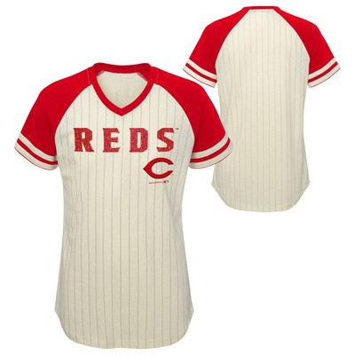 MLB Cincinnati Reds Girls' Pinstripe V-Neck T-Shirt