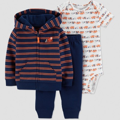 Baby Boys' 3pc Tractor Cardigan Set - Just One You® made by carter's Red 6M