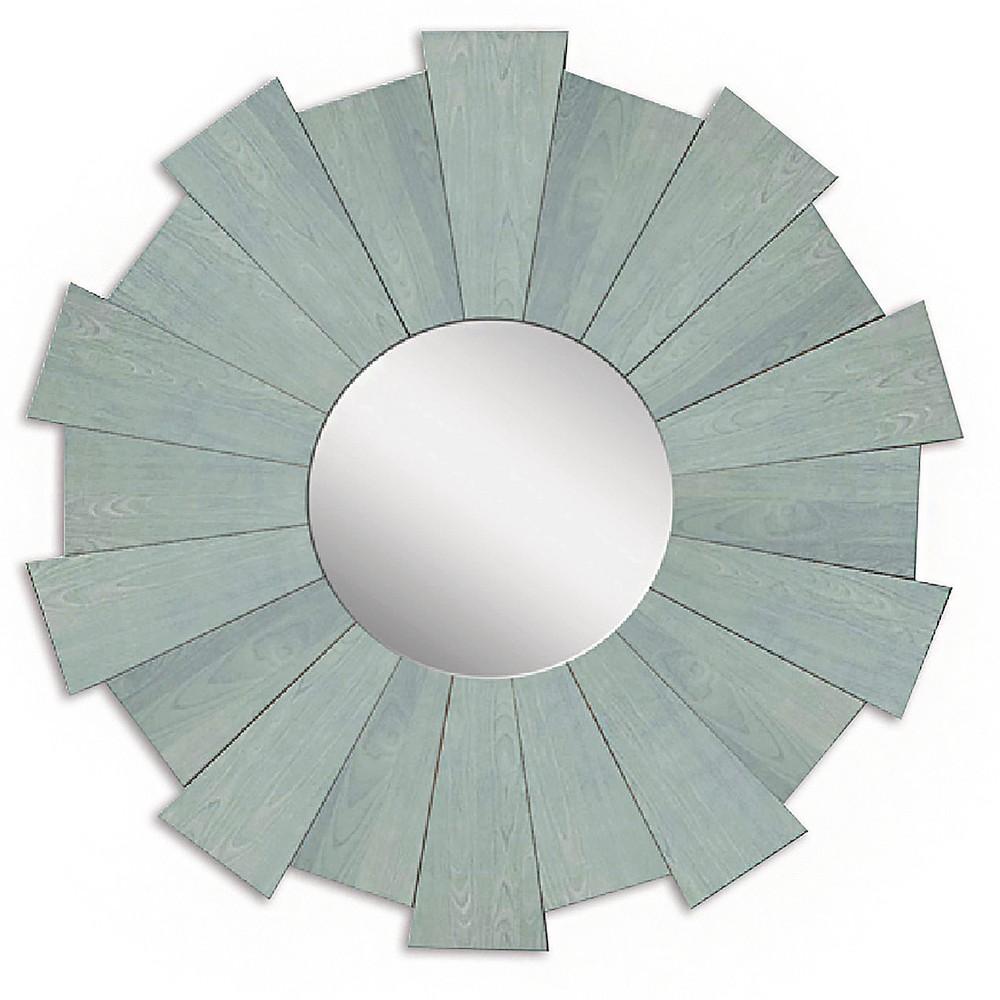 Sunburst Rustic Wood Decorative Wall Mirror Blue - Ptm Images