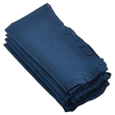 """4pk Naby Blue Melina Ruffled Design Napkin 20"""" - Saro Lifestyle"""