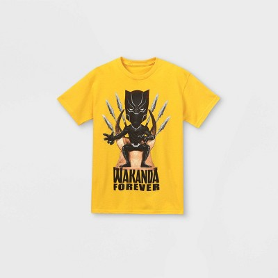 Boys' Marvel 'Wakanda Forever' Short Sleeve Graphic T-Shirt - Yellow
