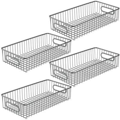 mDesign Metal Kitchen Food Pantry, Drawer Organizer Basket Tray, 4 Pack