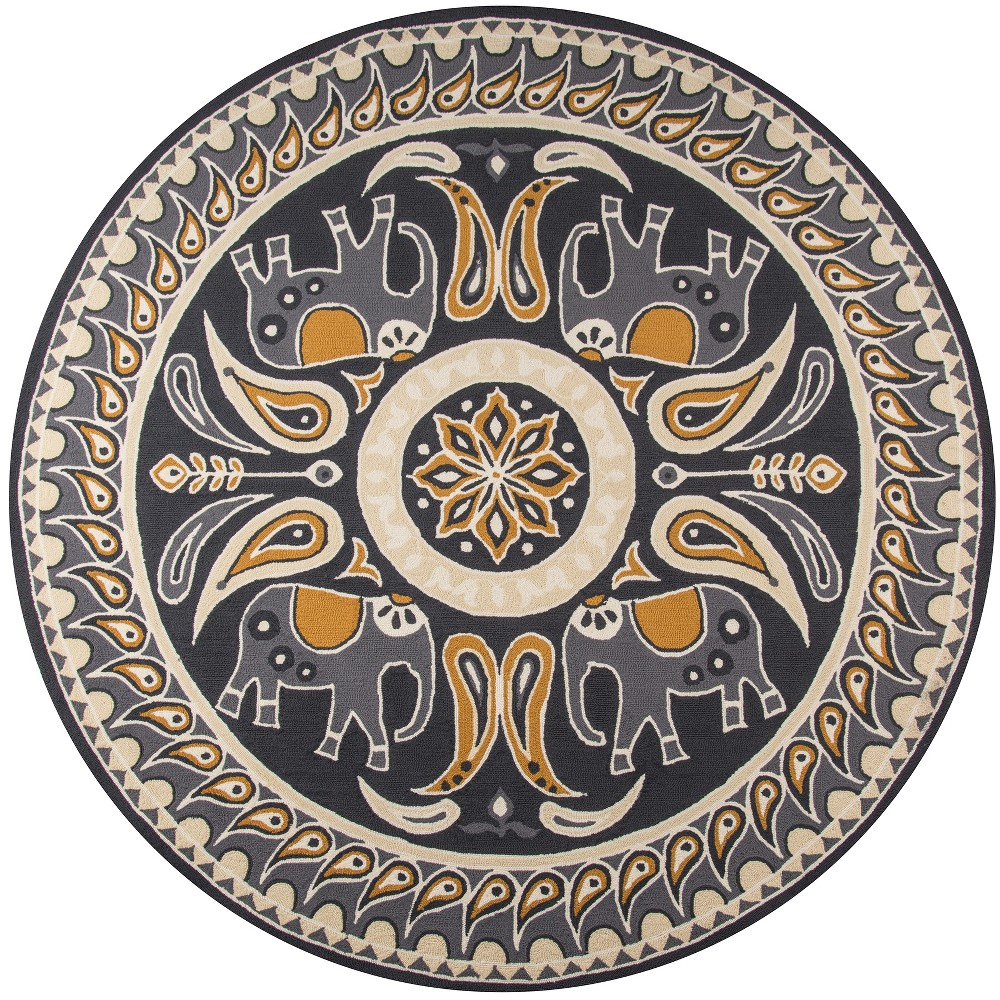 9'X9' Tribal Design Hooked Round Area Rug Gold - Momeni
